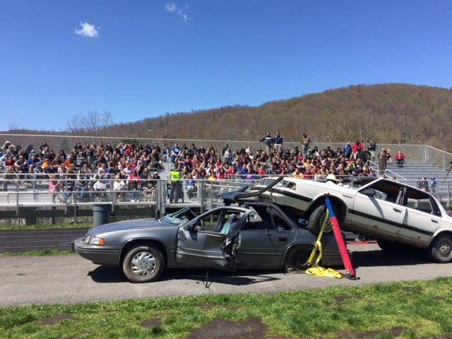 Students watch mock accident demonstration