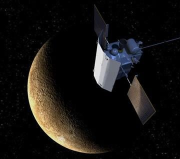 (Johns Hopkins University Applied Physics Laboratory via AP). This artist's rendering provided by the Johns Hopkins University Applied Physics Laboratory shows the sunshade on the MErcury Surface, Space ENvironment, GEochemistry, and Ranging