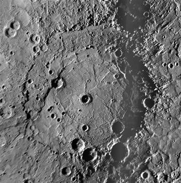 (NASA, Johns Hopkins University Applied Physics Laboratory, Carnegie Institution of Washington via AP). This October 2008 image provided by NASA shows the Rembrandt impact basin discovered by the Messenger spacecraft during its second flyby of Mercury.