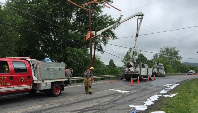 A bucket truck catches fire on Route 60 in Greenbrier County forcing officials to close down a section of the highway.