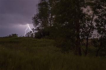 (Zack Wittman/The Flint Journal-MLive.com via AP). Lightning strikes in the distance while lightning bugs blink in the tall grass, as storms approach Genesee County on Monday, June 22, 2015 in Flushing.