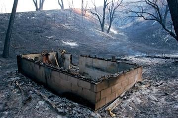(of San Luis Obispo) via AP). This outbuilding on Las Pilitas Road is one of several structures destroyed in the Park Hill Fire in San Luis Obispo County on California's Central Coast, seen Sunday, June 21, 2015.
