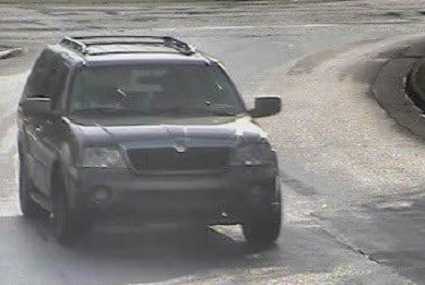A security photo of the SUV the suspects were driving.