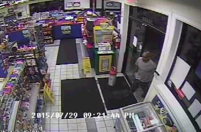 Security photo of man wanted for the armed robbery of the Stop-In in Springville, Tazewell County.