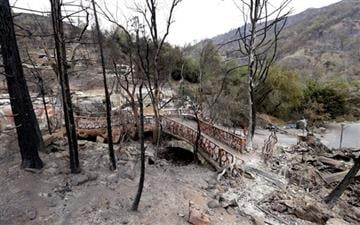 (AP Photo/Elaine Thompson). Scorched trees and debris are left behind at the Harbin Hot Springs resort destroyed by a wildfire several days earlier, Tuesday, Sept. 15, 2015, near Middletown, Calif.