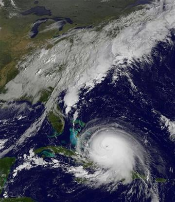 (NOAA via AP). This satellite image taken Thursday, Oct. 1, 2015 at 9:37 a.m. EDT, and released by the National Oceanic and Atmospheric Administration (NOAA), shows Hurricane Joaquin. The powerful Category 4 hurricane