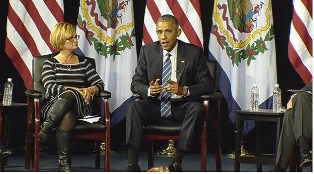 President Barack Obama holds a town hall meeting in Charleston, WV on prescription drug abuse and heroin use.
