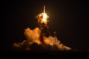 (Joel Kowsky/NASA via AP). This Tuesday Oct 28, 2014 photo provided by NASA shows the Orbital Antares rocket, after it suffered a catastrophic anomaly moments after launch at NASA's Wallops Flight Facility in Virginia.
