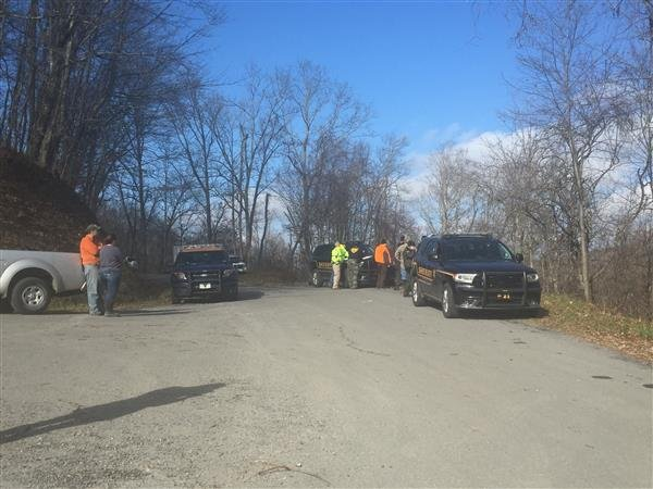 Officers search for a missing hunter in Greenbrier County.