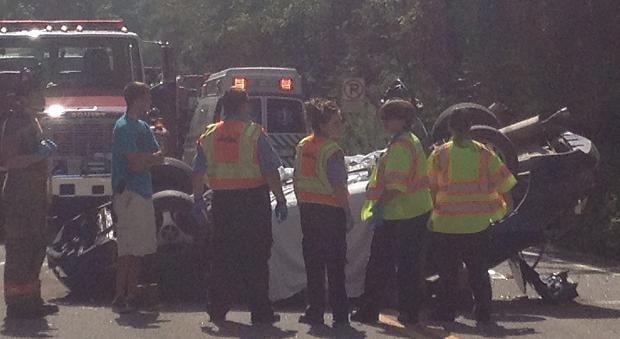 Crash near Hico Monday; photo by Caroline Bach